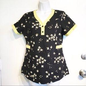 Koi Kathy Peterson Bird Print Scrub Uniform Top